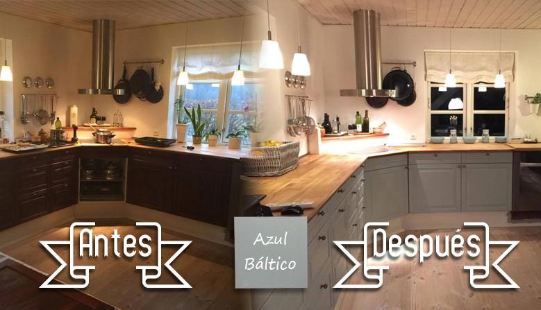 Antes y después de una cocina pintada con nuestro color Azul Báltico